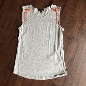 J. Crew Gray Tank with Orange Beading